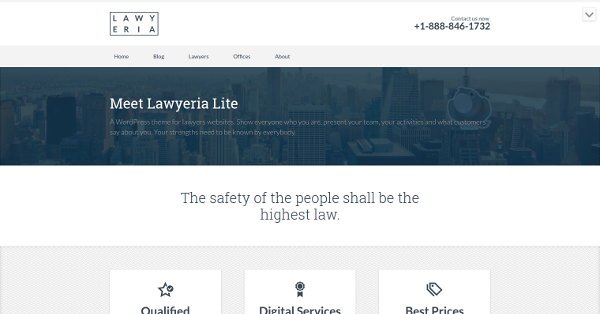 1.Lawyeria Lite – Free Theme for Lawyers