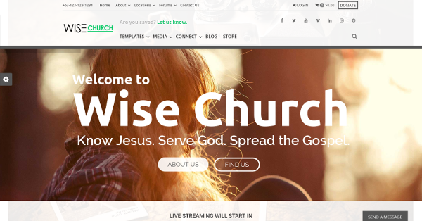 18.Wise Church WordPress Theme for Churches