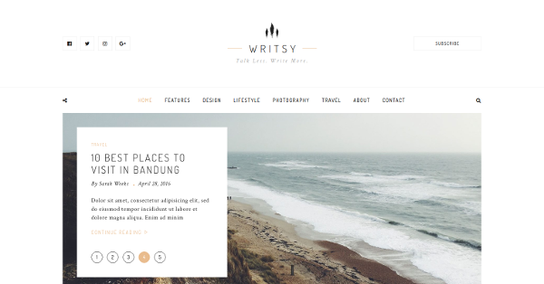 21.Writsy Clean & Faded Vintage WordPress Blog Theme