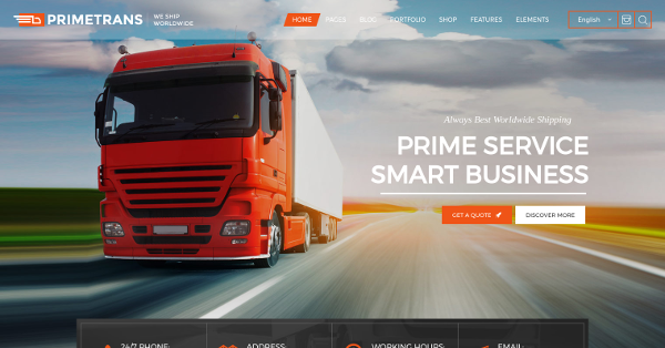 26.PrimeTrans Logistics & Business WordPress Theme