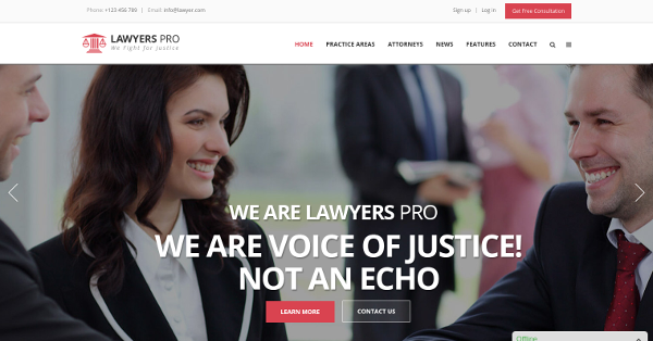 5.Lawyers Pro – WordPress Theme