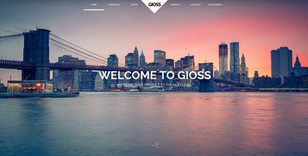 8.Gioss – Responsive HTML One Page Parallax