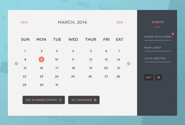 2.Freebie PSD: Calendar UI & Events