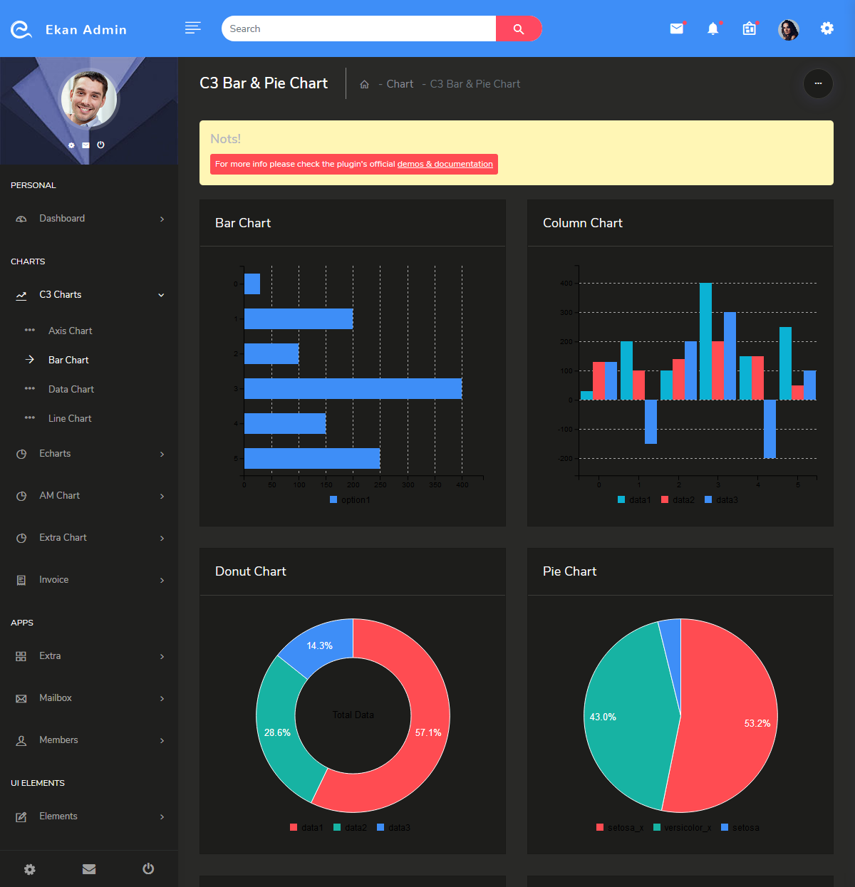Bootstrap Admin Templates with Dark Dashboard - Ekan Admin